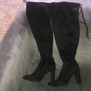 """EUC black suede over the knee boots, 3.5"""" heel"""